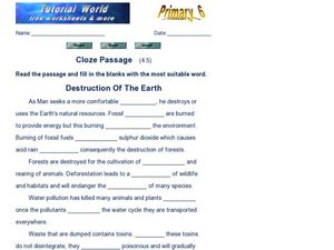 Cloze Passage: Destruction of the Earth Worksheet