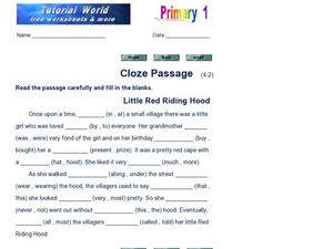 Cloze Passage: Little Red Riding Hood Worksheet