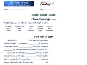 Cloze Passage: Our Sense of Sight Worksheet