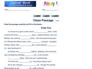 Cloze Passage: Peter Pan Worksheet
