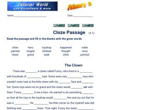 Cloze Passage - The Clown Worksheet