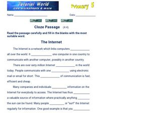 Cloze Passage: The Internet Worksheet