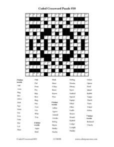 Coded Crossword Puzzle #10 Worksheet