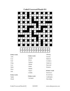 Coded Crossword Puzzle #11 Worksheet