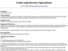 Codes and Inverse Operations Lesson Plan