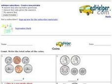 Coins - Total Value Worksheet
