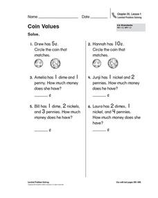Coins Values Worksheet