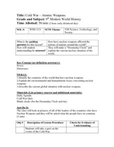 Cold War-Atomic Weapons Lesson Plan