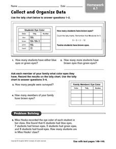 Collect and Organize Data: Homework Worksheet