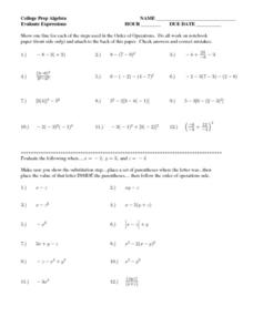 Evaluating expressions worksheet fifth grade