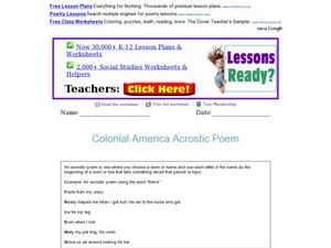 Colonial America Acrostic Poem Worksheet