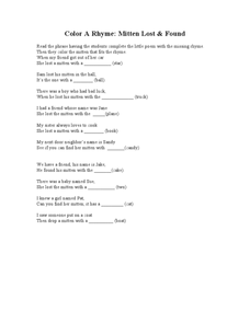 Color A Rhyme: Mitten Lost & Found Worksheet