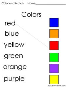 Color and Match Worksheet