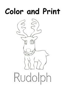 Color and Print: Rudolph Worksheet