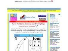 "Color and Write the Number ""4"" Worksheet"