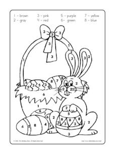 Color by Number Easter Picture Worksheet