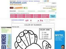 Color by Number: Turkey Worksheet