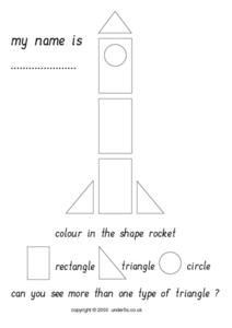 Color In The Shape Rocket Worksheet
