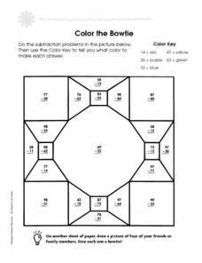 Color The Bowtie: Subtraction Practice Worksheet