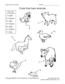 Color the Farm Animals Worksheet