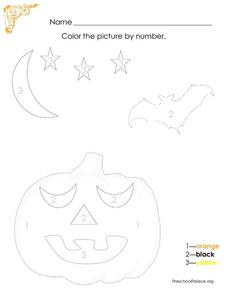 Color The Halloween Picture By Number Lesson Plan