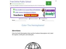 Color the Hemispheres Worksheet