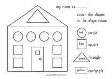 Color The Shapes In The Shape House Worksheet