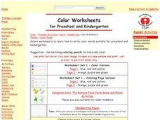Color Worksheets for Preschool and Kindergarten Worksheet