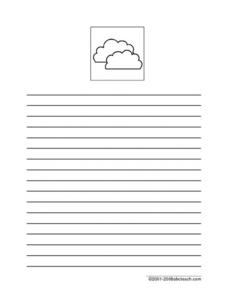 Colorful Clouds Writing Paper Worksheet