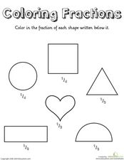Coloring Fractions Worksheet