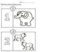 Coloring Numbers and Pictures 1 Worksheet