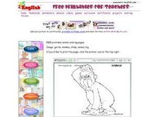 Coloring page - Gorilla Worksheet