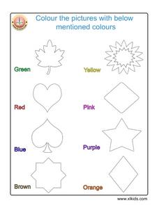 Coloring Pictures: Using Color Words Worksheet