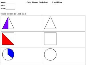 Coloring Shapes to Look the Same Worksheet