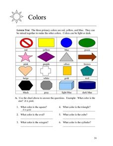 Colors and Geometric Shapes Worksheet