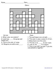 Colors Crossword Worksheet
