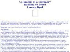 Columbus in a Summary Lesson Plan