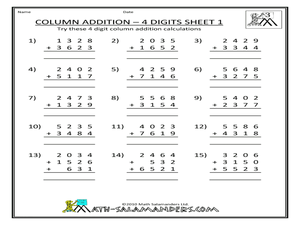 column addition 4 digits sheet 1 3rd 5th grade worksheet lesson planet. Black Bedroom Furniture Sets. Home Design Ideas
