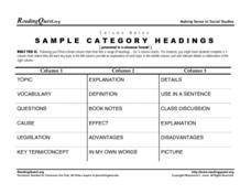 Column Notes-Sample Category Headings Worksheet