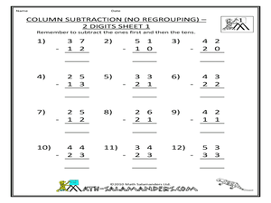 math worksheet : column subtraction no regrouping  2 digits sheet 1 2nd  3rd  : Worksheet Subtraction With Regrouping