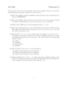 Combinations and Functions Worksheet