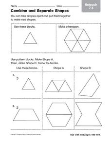 Combine and Separate Shapes Reteach Worksheet
