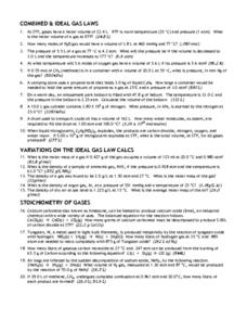 Printables Ideal Gas Law Worksheet combined ideal gas laws 12th higher ed worksheet lesson planet worksheet