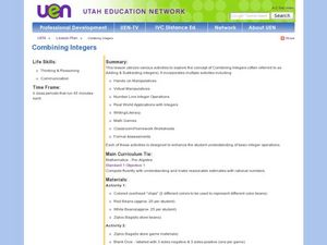 Combining Integers Lesson Plan