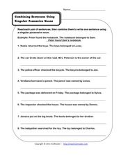 combining sentences using singular possessive nouns 2nd 3rd grade worksheet lesson planet. Black Bedroom Furniture Sets. Home Design Ideas