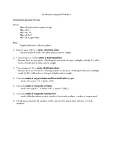 Combustion Analysis Worksheet Worksheets For School - Studioxcess