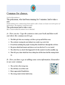 Comma for Clauses Worksheet