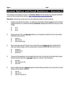 Comma Splices and Fused Sentences - Exercise 5 Worksheet