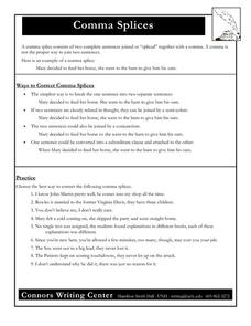 Comma Splices 7th - 12th Grade Worksheet | Lesson Planet
