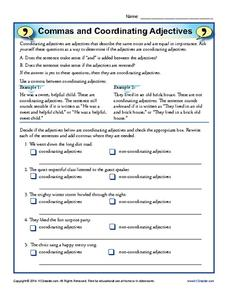 ... and Coordinating Adjectives 4th - 8th Grade Worksheet | Lesson Planet